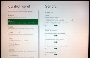 Control Panel - General