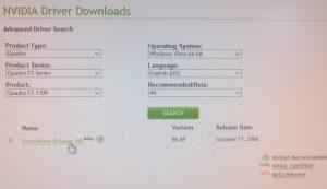 NVIDIA Driver Search for Quadro FX 1100/1300 for Vista x64