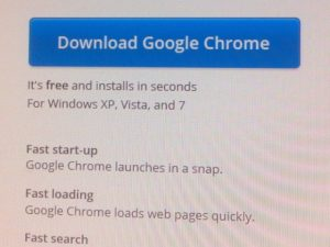 google Chrome download screen