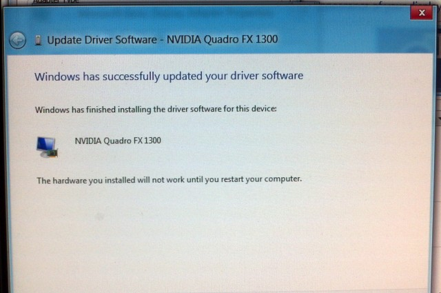 Successfully updated the driver for Windows 8 Developer Preview for NVIDIA quadro FX 1300