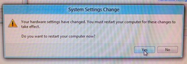 System Settings Change Dialog