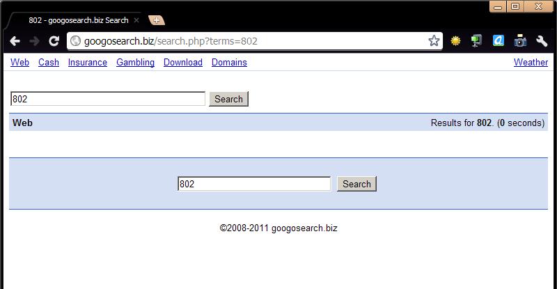 一昔前のgoogleに似せた悪質なウェブサイトの画面