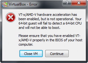 VirtualBox VT-x/AMD-V Error