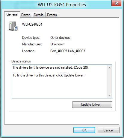 プロパティーの画面からUpdate Driverをクリック