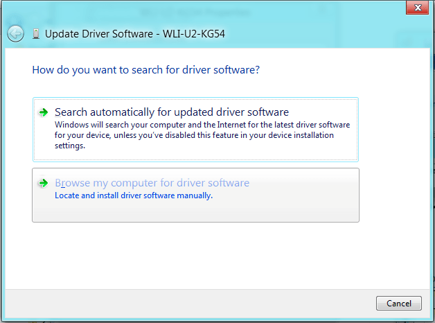 Browse my computer for driver softwareをクリック。