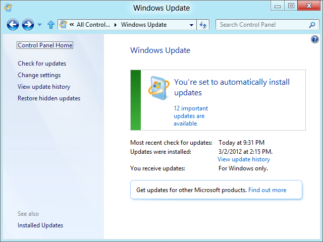 Windows 8 Consumer Preview Windows Update