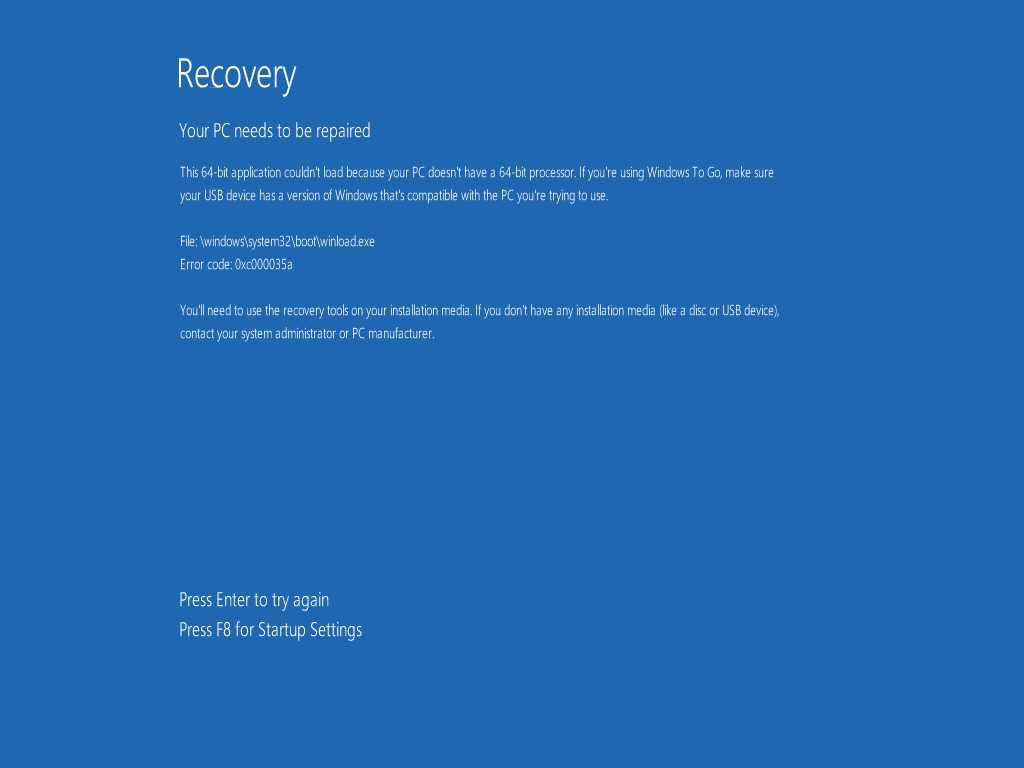 0xc000035a (Windows 8/8.1 x64)
