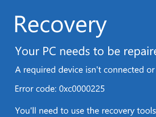 エラーコード0xc0000225の解決策(Windows 7/8/8 1/10