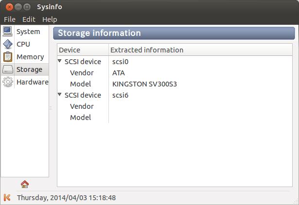 Sysinfo Storage Details