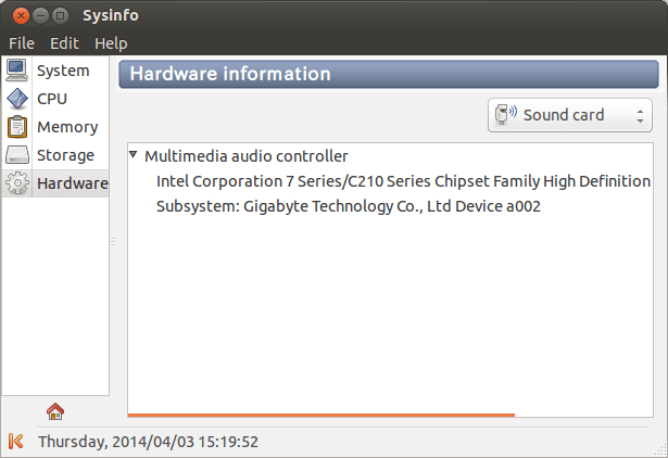 Sysinfo Hardware Information (Sound Card)