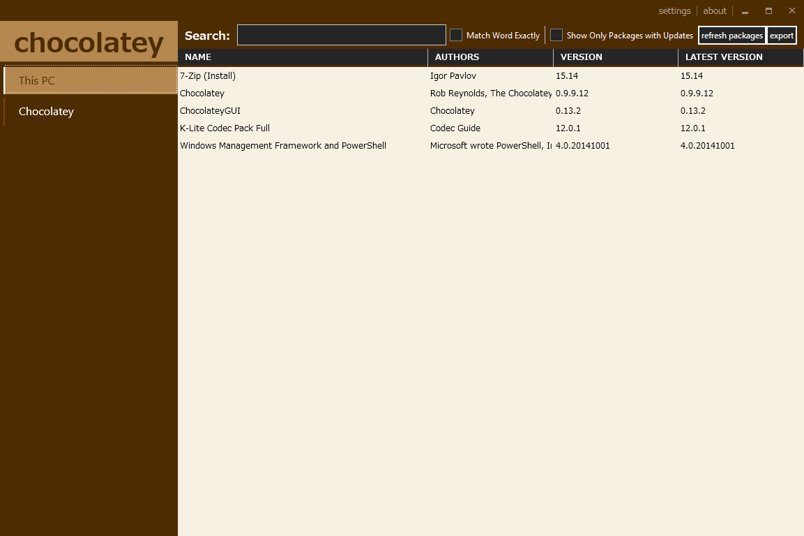 ChocolateyGUI Main Screen