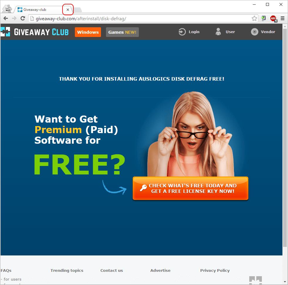 Auslogics Disk Defrag セットアップ後の広告画面