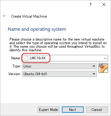 VirtualBox にてLinux Mint 18の新しいVMを作成。