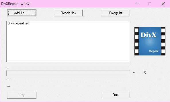 壊れているAVIファイルの修復