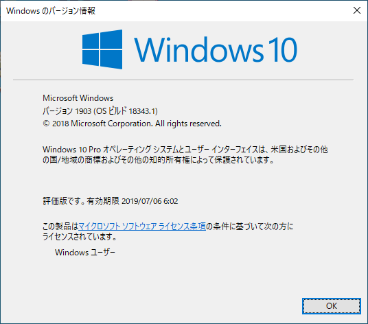 winver Windows 10 バージョン Pro バージョン 1903 ビルド 18343.19h1_release.190219-1422 version build 2018 Microsoft
