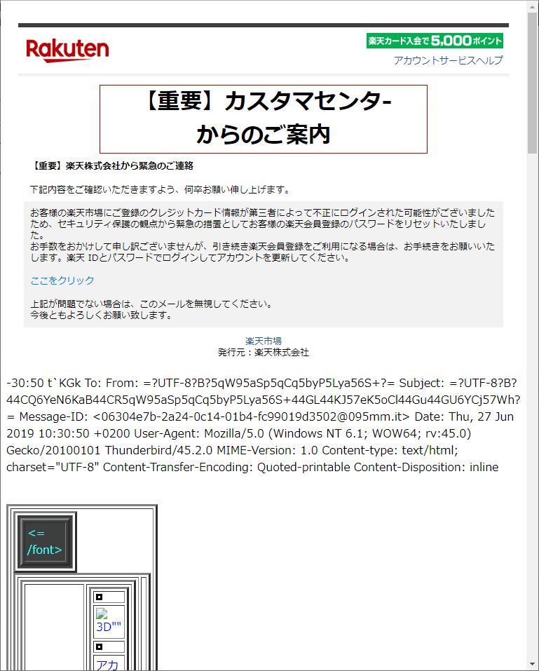 楽天フィッシングメール